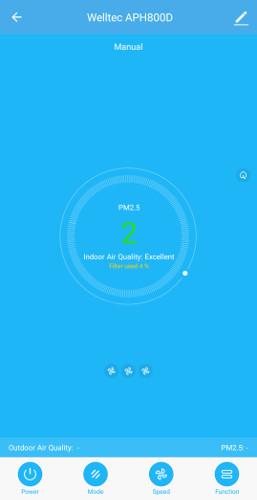 Welltec APH 800D może pochwalić się własną aplikacją - widoczny zrzut dobrze obrazuje że możemy się dowiedzieć o jakości powietrza w pomieszczeniu mając przy sobie tylko aplikację