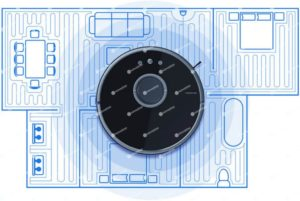 Ilustracja prezentująca odkurzacz Roborock s55 na makiecie mieszkania, ilustruje to mapowanie domu przez robota