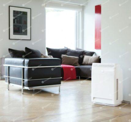 Oczyszczacz Daikin MC 70 sprawdzi się również w salonie, widoczny na zdjęciu stoi przy ścianie wśród różnych mebli