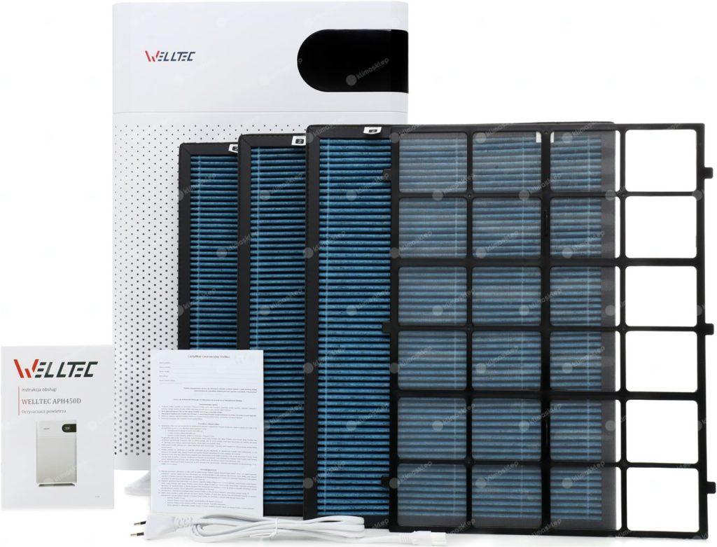 Prezentacja urządzenia Welltec APH450D wraz z filtrami, instrukcją, zasilaczem oraz kartę gwarancyjną